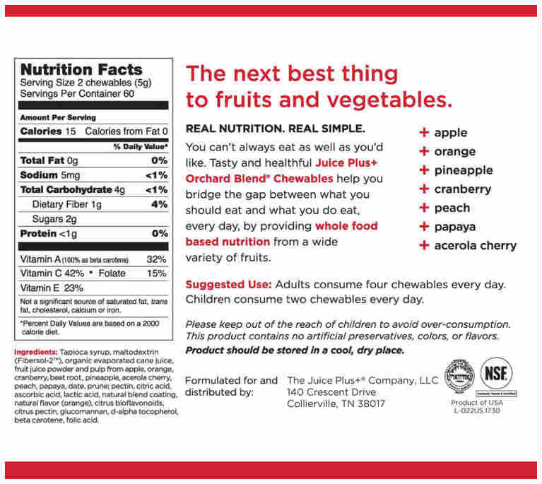 Chewies fruit label